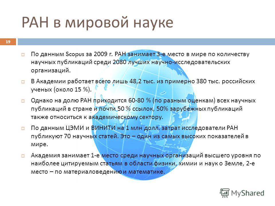 РАН в мировой науке По данным Scopus за 2009 г. РАН занимает 3- е место в мире по количеству научных публикаций среди 2080 лучших научно - исследовательских организаций. В Академии работает всего лишь 48,2 тыс. из примерно 380 тыс. российских ученых