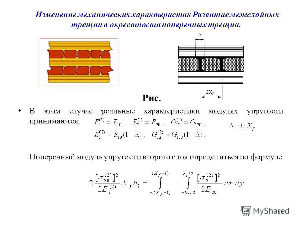 10 Изменение механических характеристик Развитие межслойных трещин в окрестности поперечных трещин. Рис. В этом случае реальные характеристики модулях упругости принимаются: Поперечный модуль упругости второго слоя определиться по формуле 2X f 2l