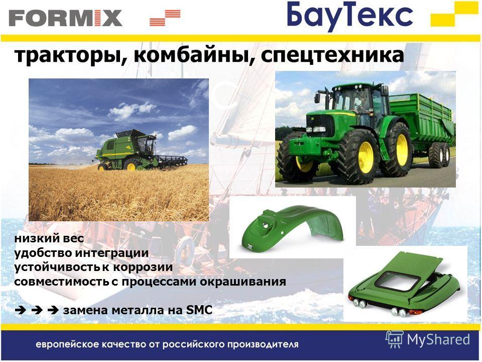 тракторы, комбайны, спецтехника низкий вес удобство интеграции устойчивость к коррозии совместимость с процессами окрашивания замена металла на SMC