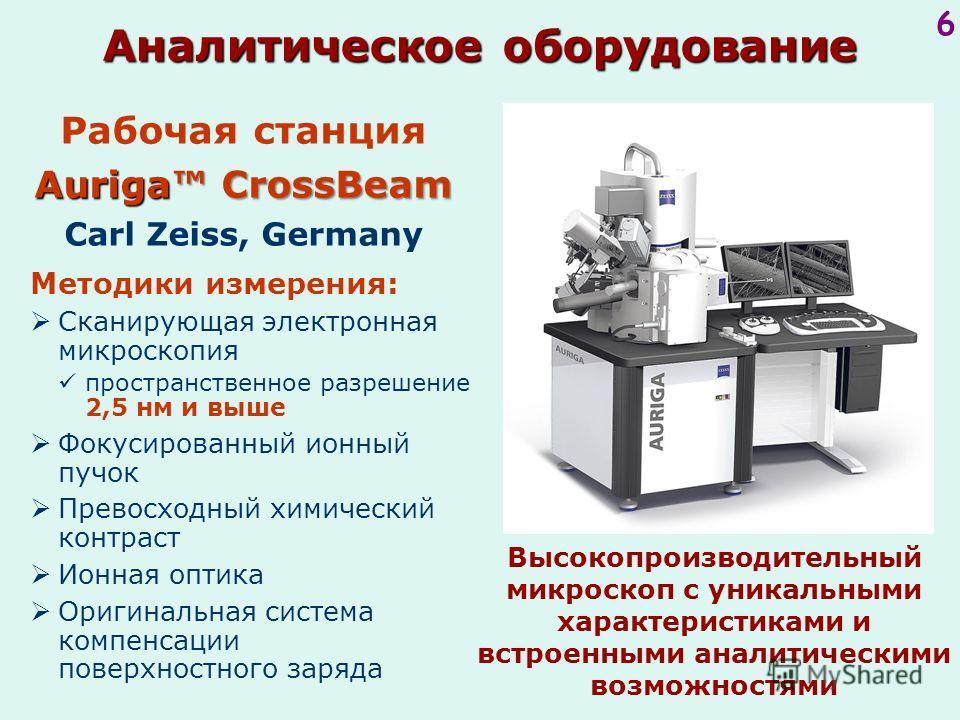 6 Рабочая станция Auriga CrossBeam Carl Zeiss, Germany Высокопроизводительный микроскоп с уникальными характеристиками и встроенными аналитическими возможностями Методики измерения: Сканирующая электронная микроскопия пространственное разрешение 2,5