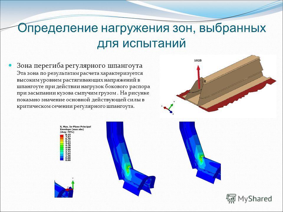 Определение нагружения зон, выбранных для испытаний Зона перегиба регулярного шпангоута Эта зона по результатам расчета характеризуется высоким уровнем растягивающих напряжений в шпангоуте при действии нагрузок бокового распора при засыпании кузова с