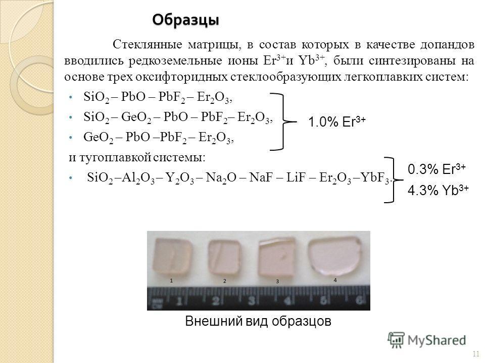 Образцы Стеклянные матрицы, в состав которых в качестве допандов вводились редкоземельные ионы Er 3+ и Yb 3+, были синтезированы на основе трех оксифторидных стеклообразующих легкоплавких систем: SiO 2 – PbO – PbF 2 – Er 2 O 3, SiO 2 – GeO 2 – PbО –