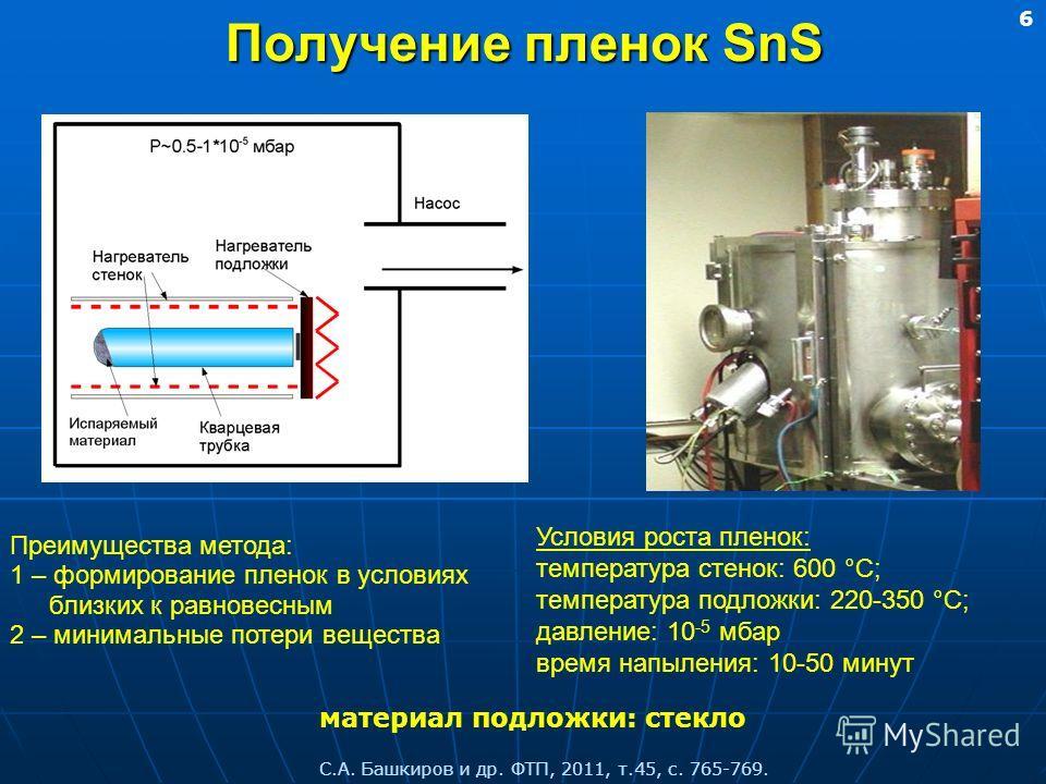 Получение пленок SnS Преимущества метода: 1 – формирование пленок в условиях близких к равновесным 2 – минимальные потери вещества материал подложки: стекло Условия роста пленок: температура стенок: 600 °C; температура подложки: 220-350 °C; давление: