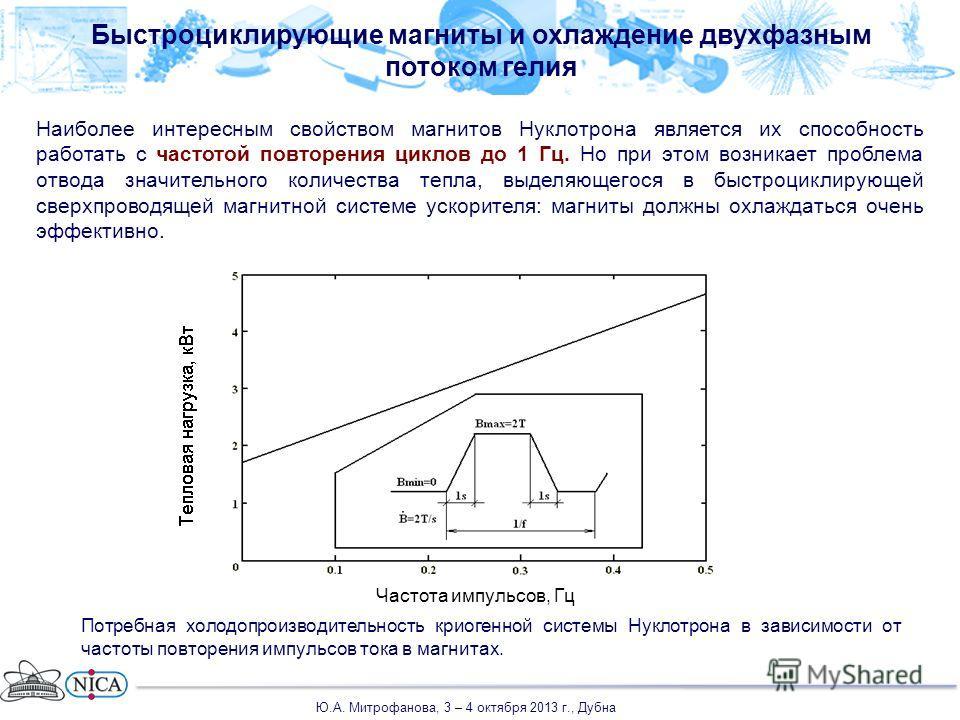 Быстроциклирующие магниты и охлаждение двухфазным потоком гелия Наиболее интересным свойством магнитов Нуклотрона является их способность работать с частотой повторения циклов до 1 Гц. Но при этом возникает проблема отвода значительного количества те