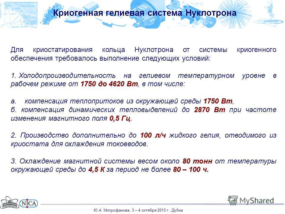 Криогенная гелиевая система Нуклотрона Для криостатирования кольца Нуклотрона от системы криогенного обеспечения требовалось выполнение следующих условий: 1750 до 4620 Вт 1. Холодопроизводительность на гелиевом температурном уровне в рабочем режиме о