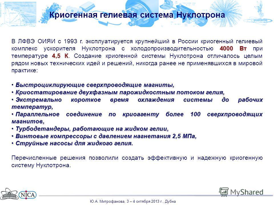 Криогенная гелиевая система Нуклотрона 4000 Вт 4,5 К В ЛФВЭ ОИЯИ с 1993 г. эксплуатируется крупнейший в России криогенный гелиевый комплекс ускорителя Нуклотрона с холодопроизводительностью 4000 Вт при температуре 4,5 К. Создание криогенной системы Н