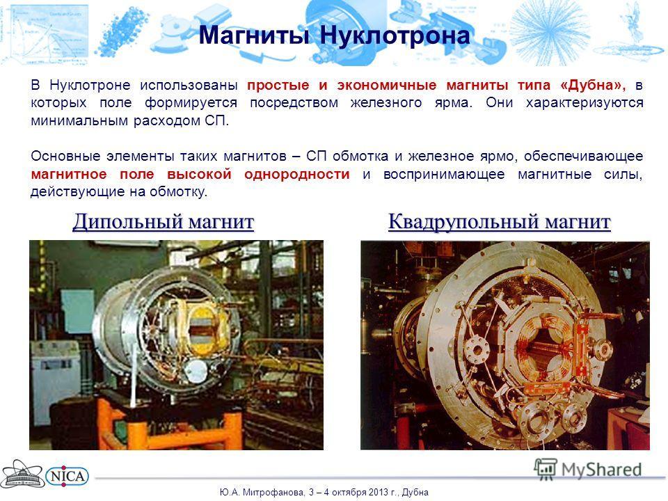 Дипольный магнит Квадрупольный магнит В Нуклотроне использованы простые и экономичные магниты типа «Дубна», в которых поле формируется посредством железного ярма. Они характеризуются минимальным расходом СП. Основные элементы таких магнитов – СП обмо