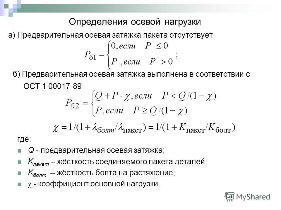 а) Предварительная осевая затяжка пакета отсутствует Определения осевой нагрузки б) Предварительная осевая затяжка выполнена в соответствии с ОСТ 1 00017-89 где: Q - предварительная осевая затяжка; K пакет – жёсткость соединяемого пакета деталей; K б