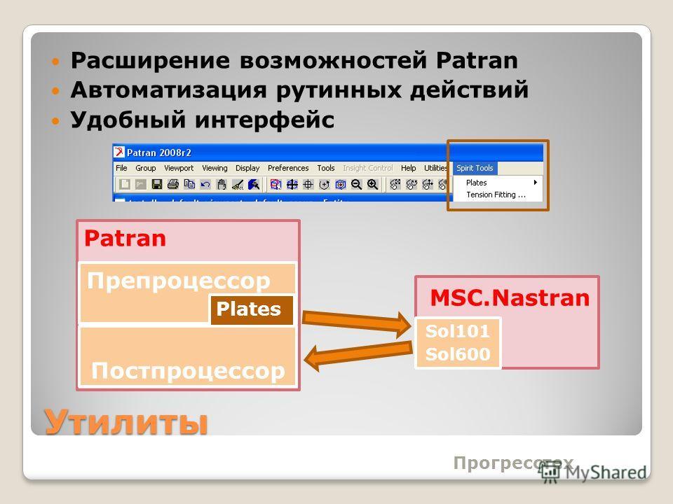 Утилиты Расширение возможностей Patran Автоматизация рутинных действий Удобный интерфейс Прогресстех Постпроцессор Препроцессор Plates Patran MSC.Nastran Sol101 Sol600