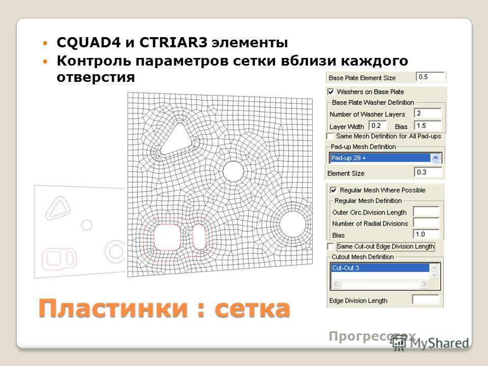 Прогресстех Пластинки : сетка CQUAD4 и CTRIAR3 элементы Контроль параметров сетки вблизи каждого отверстия