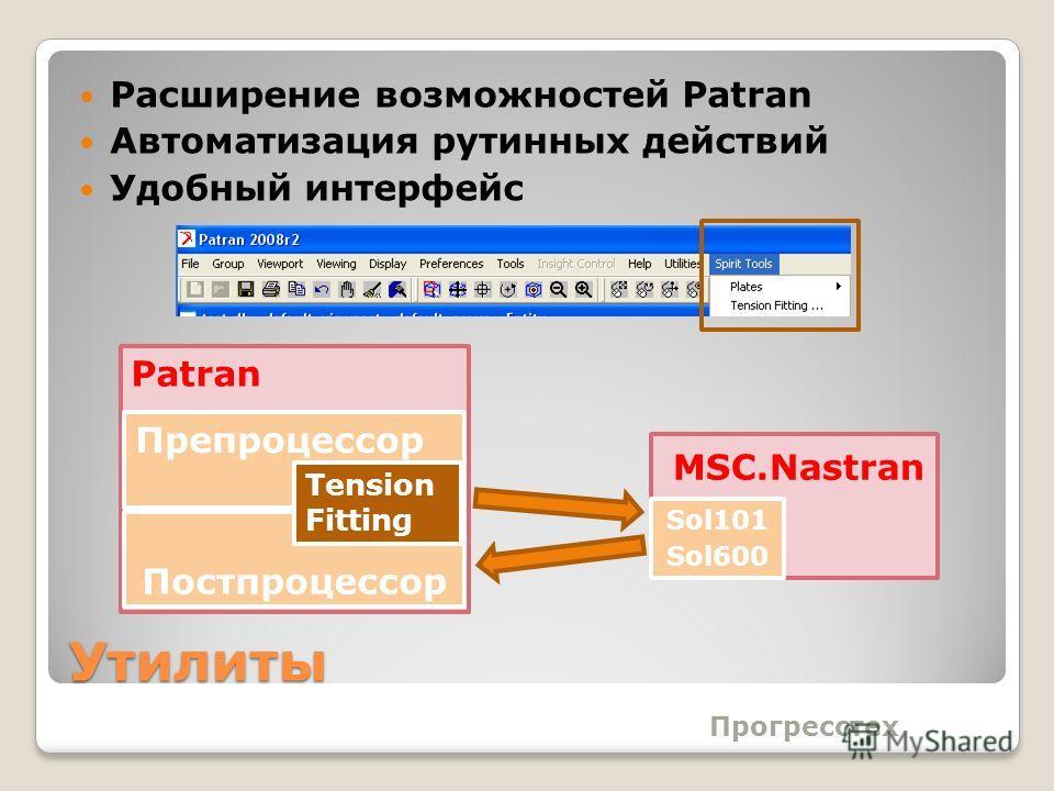 Утилиты Расширение возможностей Patran Автоматизация рутинных действий Удобный интерфейс Прогресстех Постпроцессор Препроцессор Tension Fitting Patran MSC.Nastran Sol101 Sol600