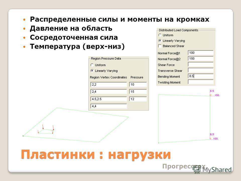 Прогресстех Пластинки : нагрузки Распределенные силы и моменты на кромках Давление на область Сосредоточенная сила Температура (верх-низ)