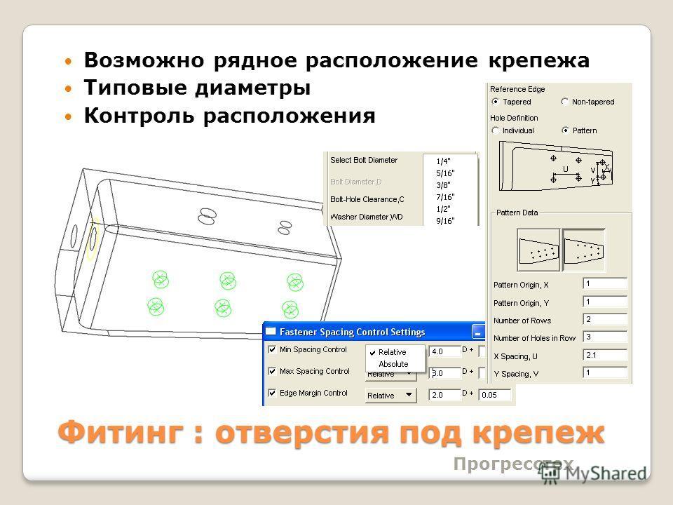 Фитинг : отверстия под крепеж Возможно рядное расположение крепежа Типовые диаметры Контроль расположения