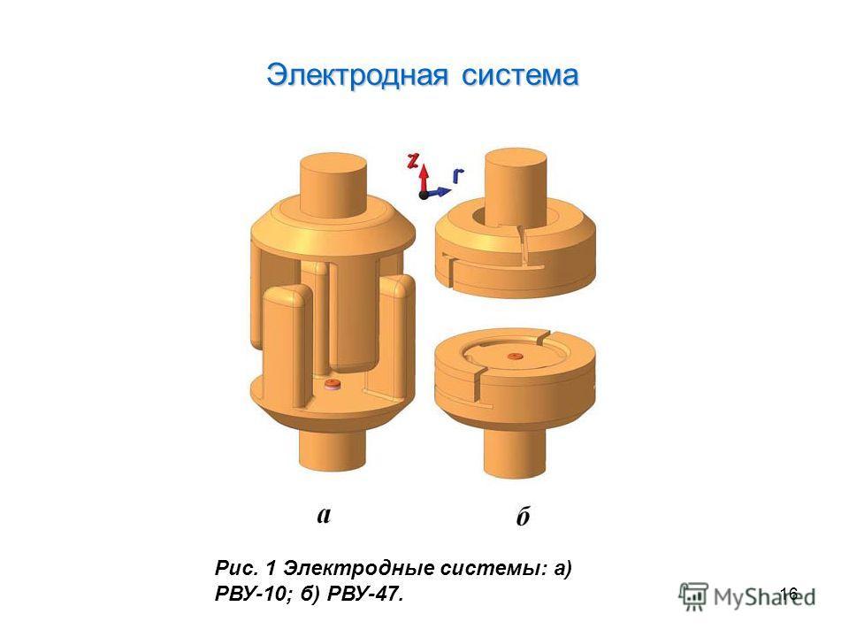 Электродная система 16 Рис. 1 Электродные системы: а) РВУ-10; б) РВУ-47.