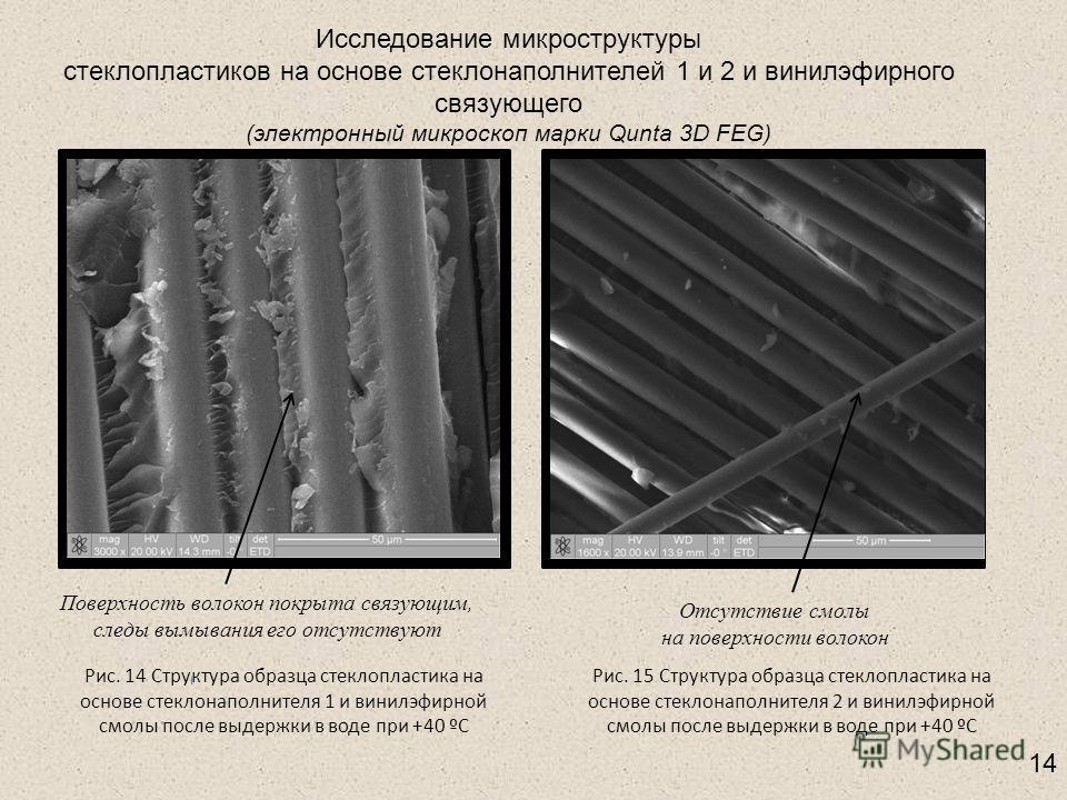 Исследование микроструктуры стеклопластиков на основе стеклонаполнителей 1 и 2 и винилэфирного связующего (электронный микроскоп марки Qunta 3D FEG) Рис. 14 Структура образца стеклопластика на основе стеклонаполнителя 1 и винилэфирной смолы после выд