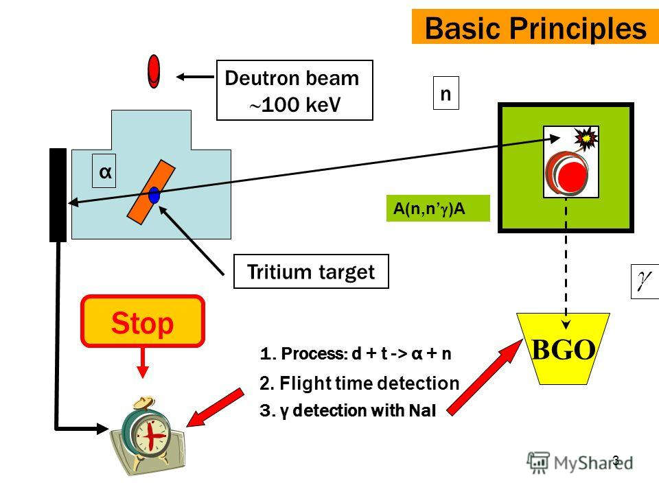 3 Basic Principles BGO 1. Process: d + t -> α + n 2. Flight time detection 3. γ detection with NaI α n StartStop Deutron beam 100 keV Tritium target A(n,n )A