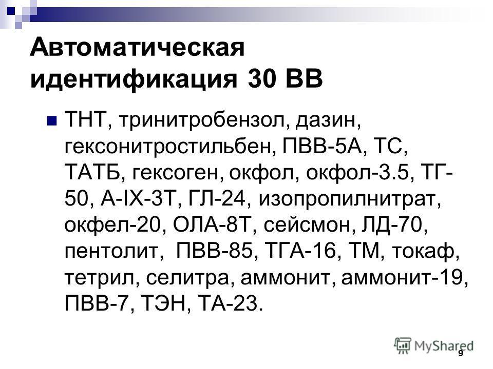 9 Автоматическая идентификация 30 ВВ ТНТ, тринитробензол, дазин, гексонитростильбен, ПВВ-5А, ТС, ТАТБ, гексоген, окфол, окфол-3.5, ТГ- 50, А-IX-3Т, ГЛ-24, изопропилнитрат, окфел-20, ОЛА-8Т, сейсмон, ЛД-70, пентолит, ПВВ-85, ТГА-16, ТМ, токаф, тетрил,