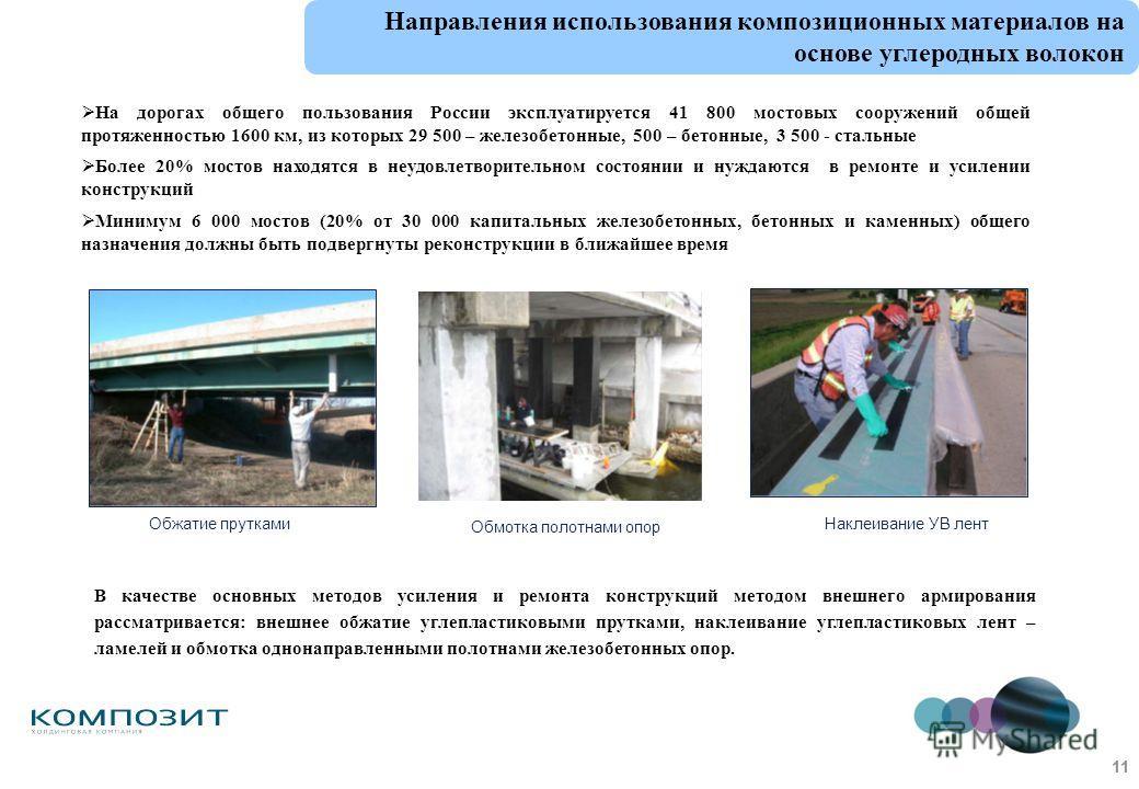 На дорогах общего пользования России эксплуатируется 41 800 мостовых сооружений общей протяженностью 1600 км, из которых 29 500 – железобетонные, 500 – бетонные, 3 500 - стальные Более 20% мостов находятся в неудовлетворительном состоянии и нуждаются