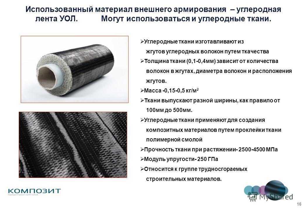 Использованный материал внешнего армирования – углеродная лента УОЛ. Могут использоваться и углеродные ткани. Углеродные ткани изготавливают из жгутов углеродных волокон путем ткачества Толщина ткани (0,1-0,4мм) зависит от количества волокон в жгутах