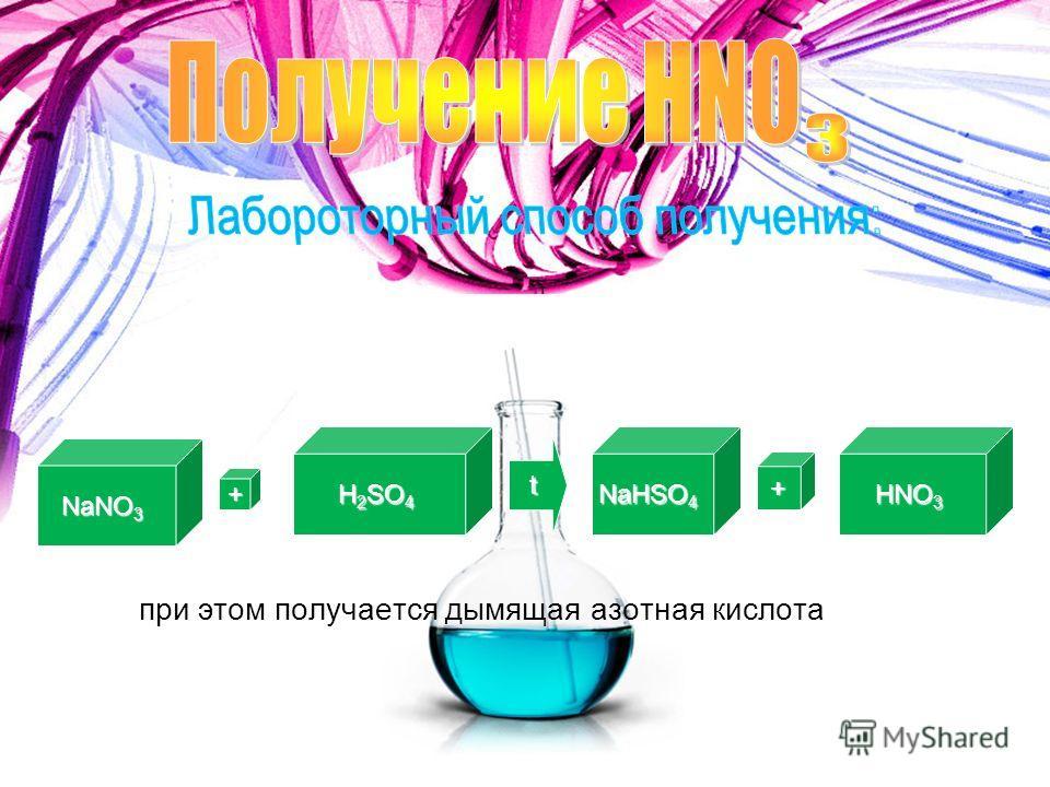 NaNO 3 + H 2 SO 4 t NaHSO 4 + HNO 3 при этом получается дымящая азотная кислота