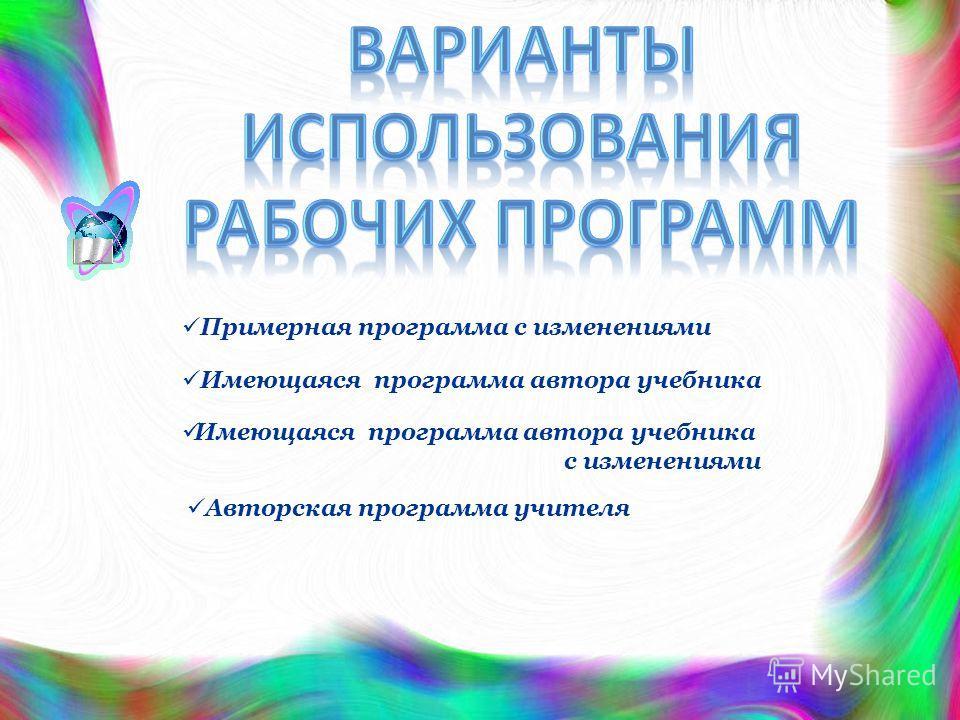 Примерная программа с изменениями Имеющаяся программа автора учебника с изменениями Авторская программа учителя