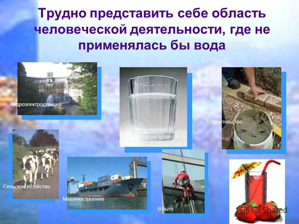 Трудно представить себе область человеческой деятельности, где не применялась бы вода Гидроэлектростанция Сельское хозяйство Машиностроение Строительство В быту