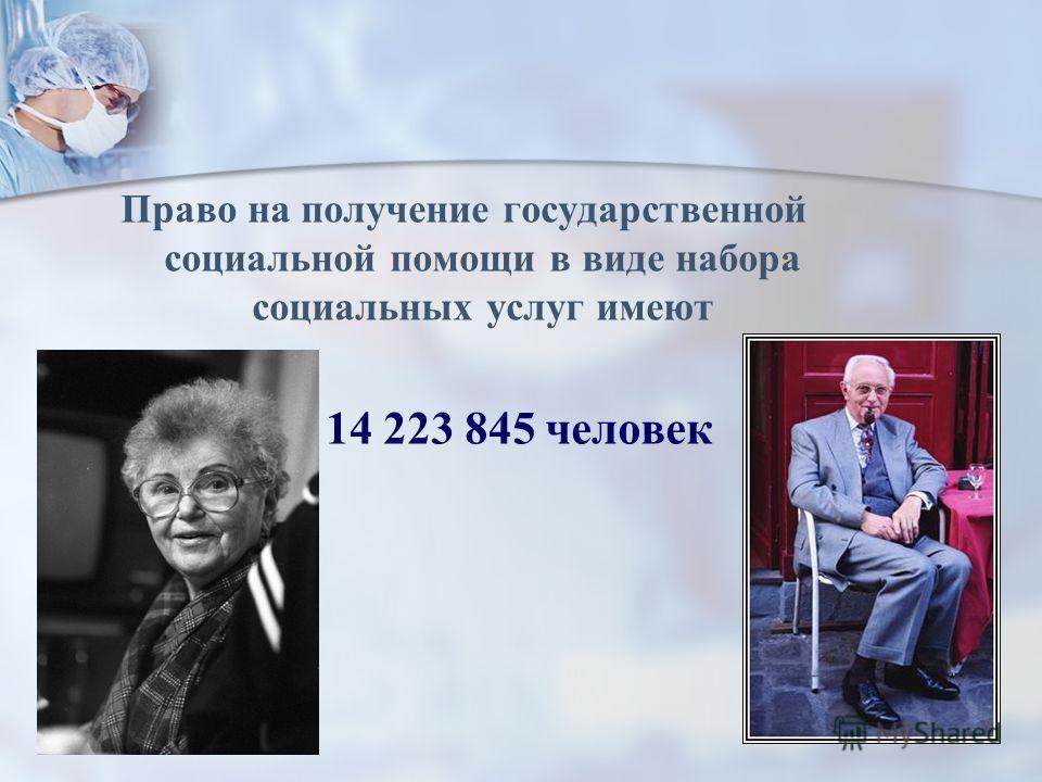 Право на получение государственной социальной помощи в виде набора социальных услуг имеют 14 223 845 человек