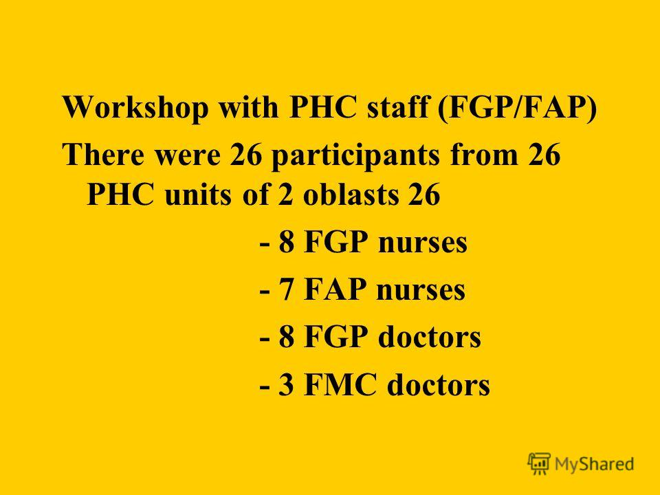Workshop with PHC staff (FGP/FAP) There were 26 participants from 26 PHC units of 2 oblasts 26 - 8 FGP nurses - 7 FAP nurses - 8 FGP doctors - 3 FMC doctors