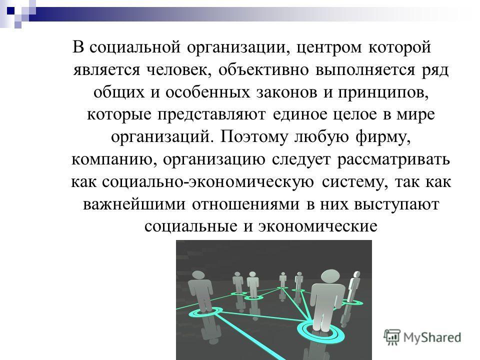 В социальной организации, центром которой является человек, объективно выполняется ряд общих и особенных законов и принципов, которые представляют единое целое в мире организаций. Поэтому любую фирму, компанию, организацию следует рассматривать как с