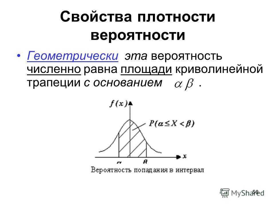 Свойства плотности вероятности Геометрически эта вероятность численно равна площади криволинейной трапеции с основанием. 56