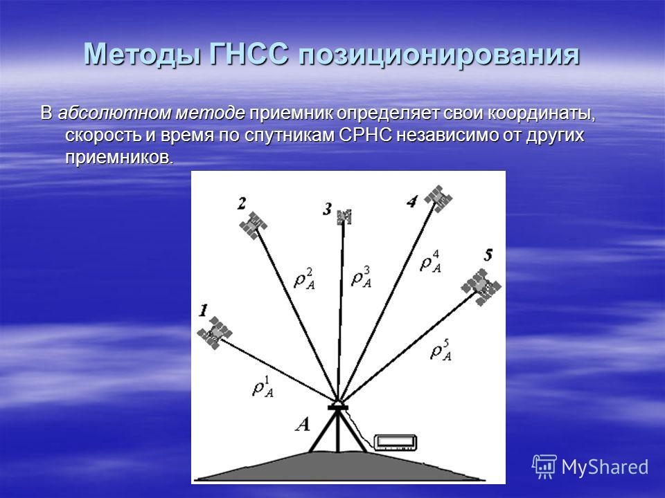Методы ГНСС позиционирования В абсолютном методе приемник определяет свои координаты, скорость и время по спутникам СРНС независимо от других приемников.