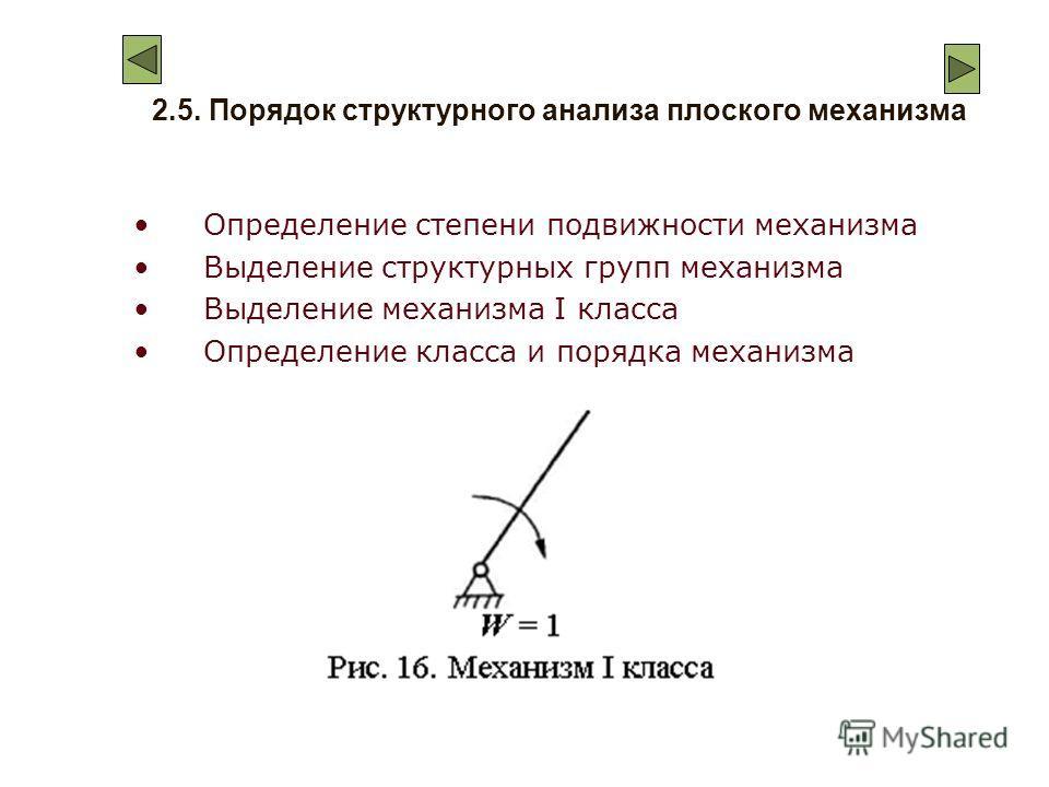 2.5. Порядок структурного анализа плоского механизма Определение степени подвижности механизма Выделение структурных групп механизма Выделение механизма I класса Определение класса и порядка механизма