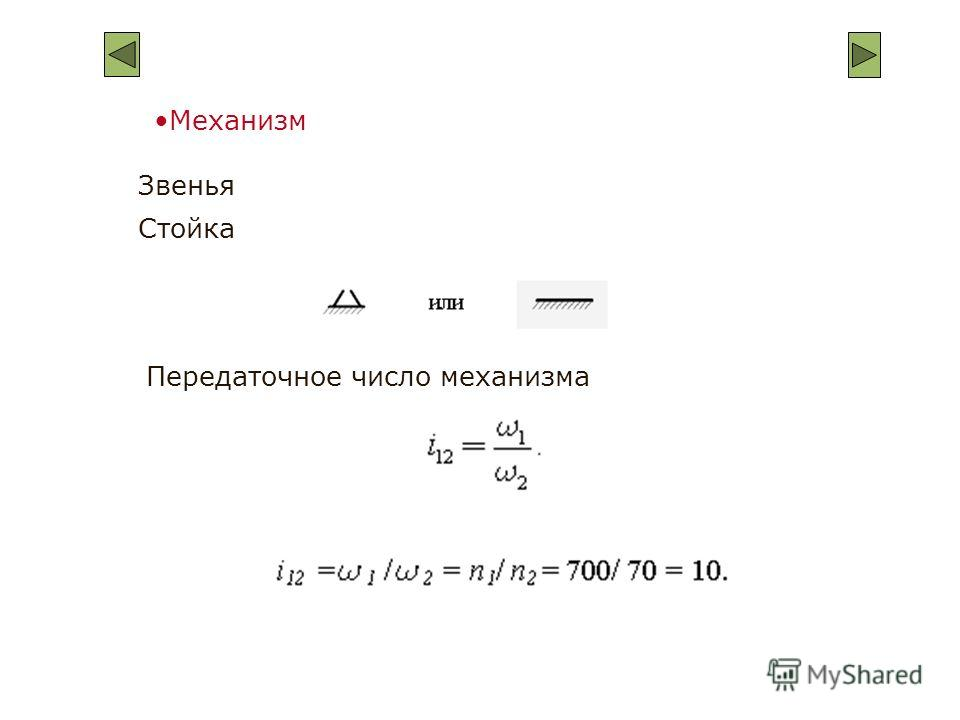 Механизм Передаточное число механизма Звенья Стойка