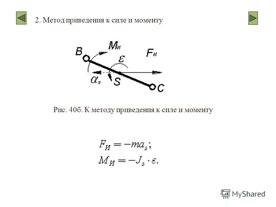 2. Метод приведения к силе и моменту Рис. 40б. К методу приведения к силе и моменту