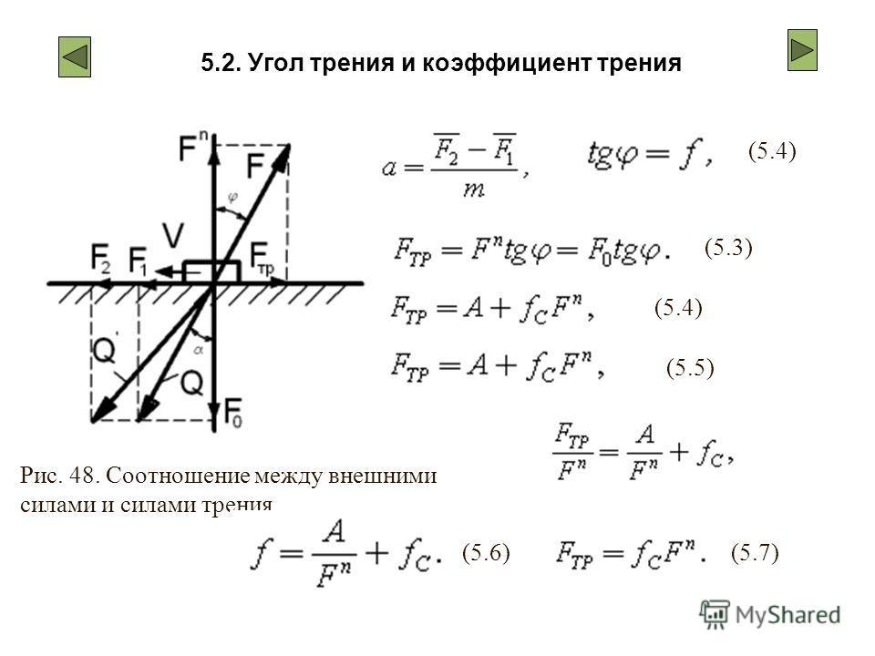 5.2. Угол трения и коэффициент трения Рис. 48. Соотношение между внешними силами и силами трения (5.3)(5.4) (5.5) (5.6) (5.7)
