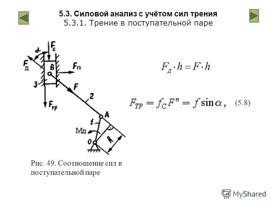 5.3. Силовой анализ с учётом сил трения 5.3.1. Трение в поступательной паре Рис. 49. Соотношение сил в поступательной паре (5.8)