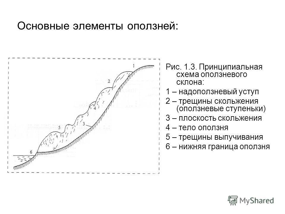 Основные элементы оползней: Рис. 1.3. Принципиальная схема оползневого склона: 1 – надоползневый уступ 2 – трещины скольжения (оползневые ступеньки) 3 – плоскость скольжения 4 – тело оползня 5 – трещины выпучивания 6 – нижняя граница оползня