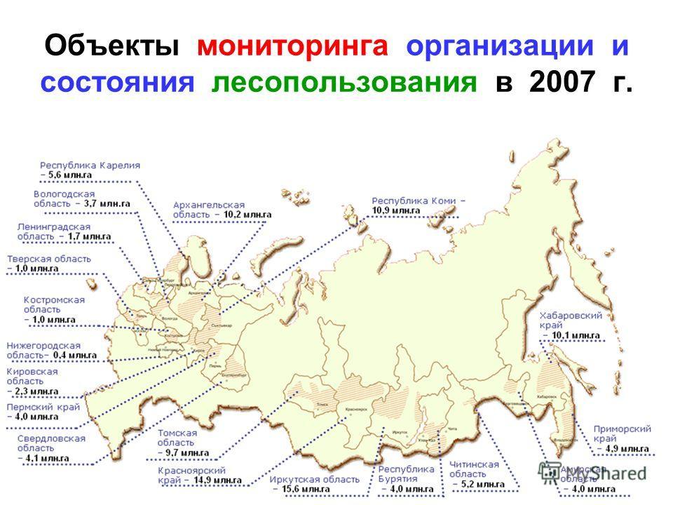 Объекты мониторинга организации и состояния лесопользования в 2007 г.