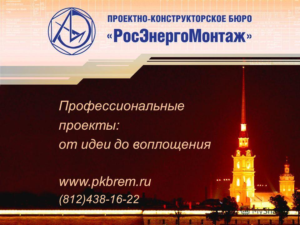 Профессиональные проекты: от идеи до воплощения www.pkbrem.ru (812)438-16-22