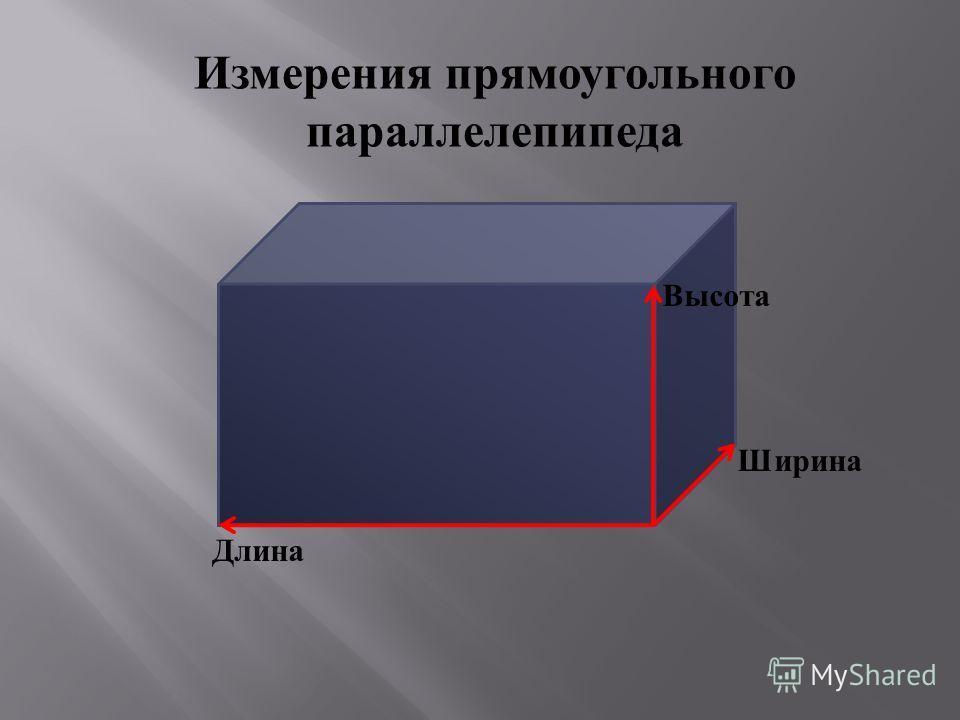 Измерения прямоугольного параллелепипеда Высота Ширина Длина