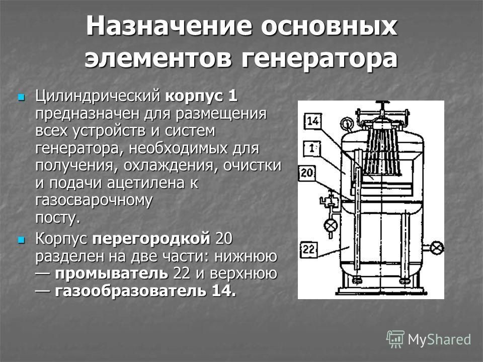 Назначение основных элементов генератора Цилиндрический корпус 1 предназначен для размещения всех устройств и систем генератора, необходимых для получения, охлаждения, очистки и подачи ацетилена к газосварочному посту. Цилиндрический корпус 1 предназ