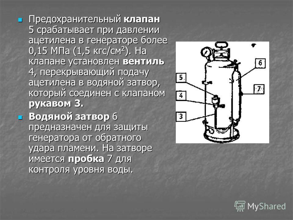 Предохранительный клапан 5 срабатывает при давлении ацетилена в генераторе более 0,15 МПа (1,5 кгс/см 2 ). На клапане установлен вентиль 4, перекрываю