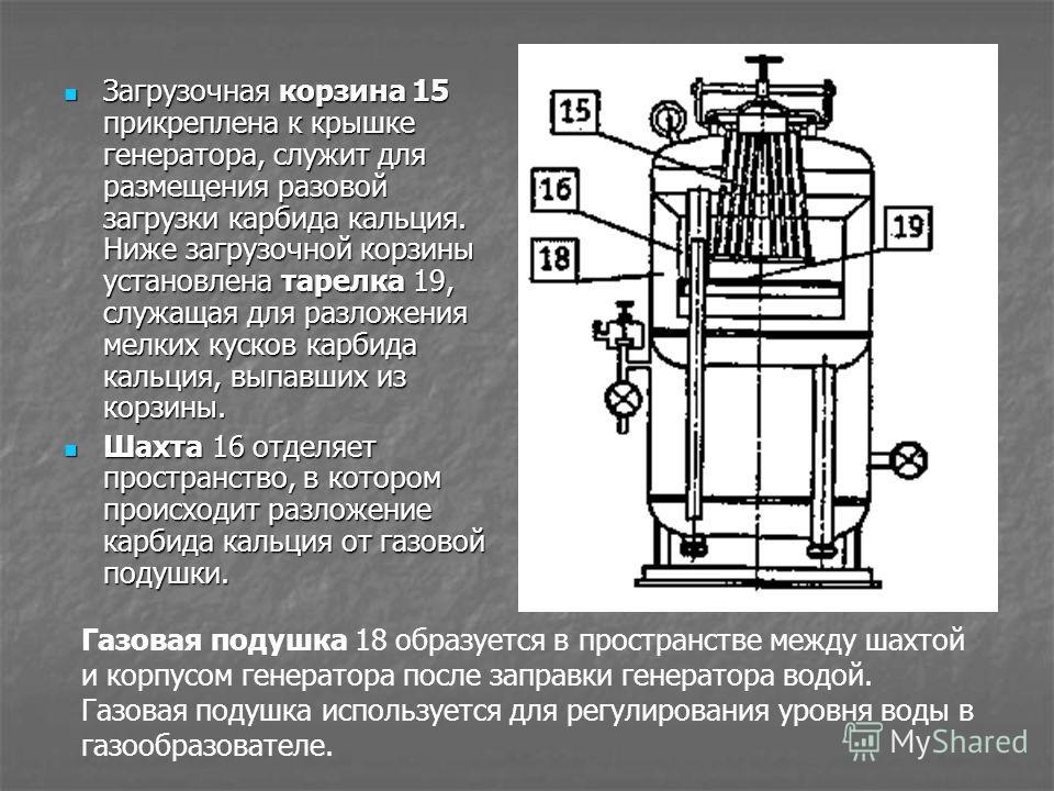 Загрузочная корзина 15 прикреплена к крышке генератора, служит для размещения разовой загрузки карбида кальция. Ниже загрузочной корзины установлена т