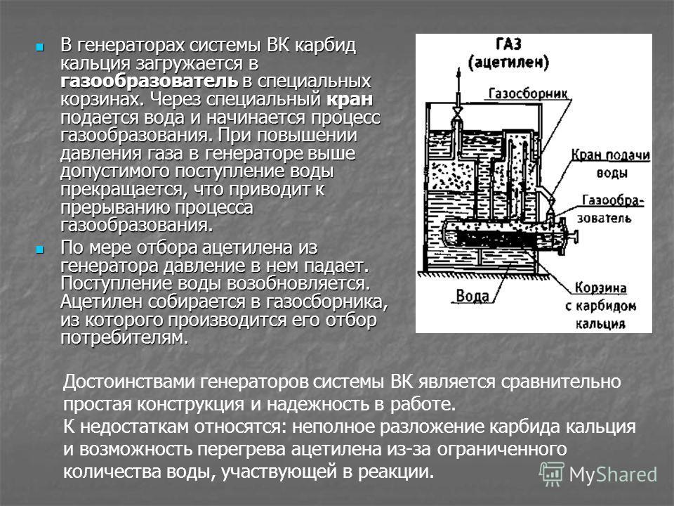 В генераторах системы ВК карбид кальция загружается в газообразователь в специальных корзинах. Через специальный кран подается вода и начинается процесс газообразования. При повышении давления газа в генераторе выше допустимого поступление воды прекр