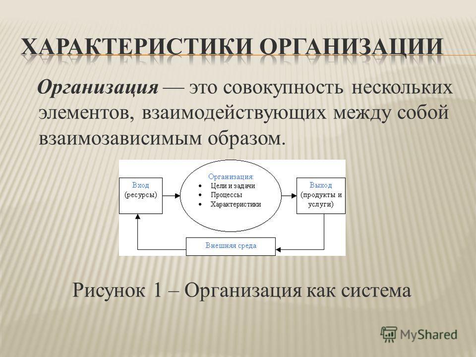 Организация это совокупность нескольких элементов, взаимодействующих между собой взаимозависимым образом. Рисунок 1 – Организация как система