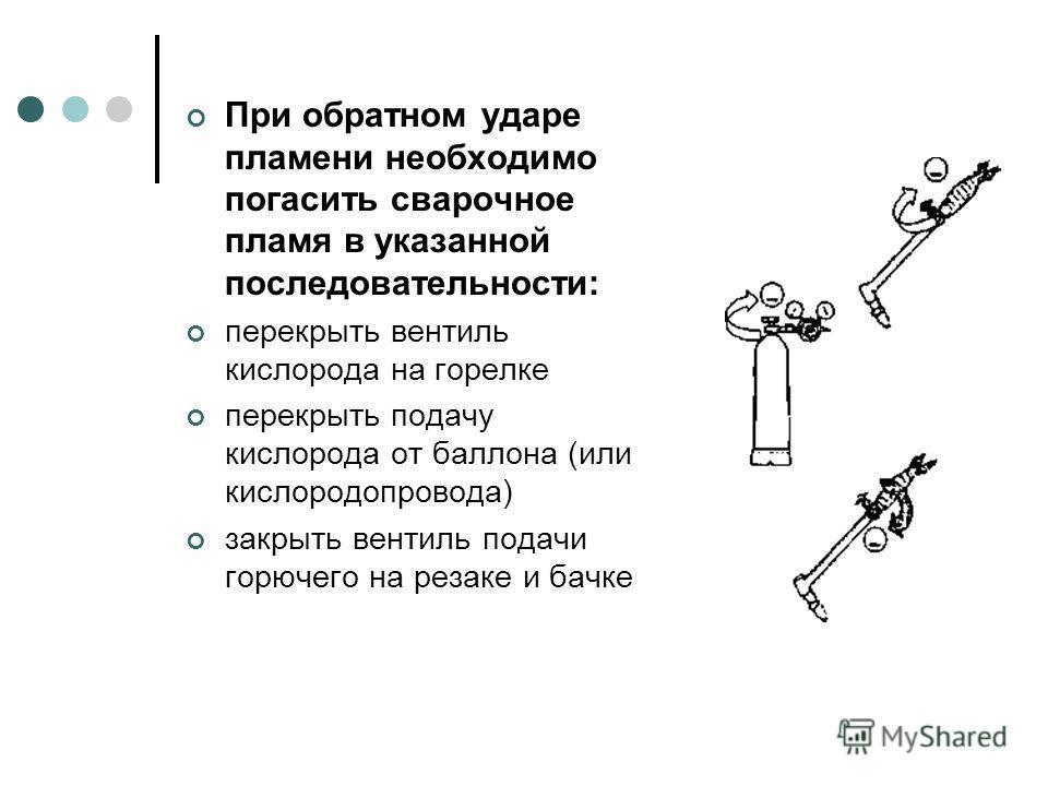 При обратном ударе пламени необходимо погасить сварочное пламя в указанной последовательности: перекрыть вентиль кислорода на горелке перекрыть подачу кислорода от баллона (или кислородопровода) закрыть вентиль подачи горючего на резаке и бачке