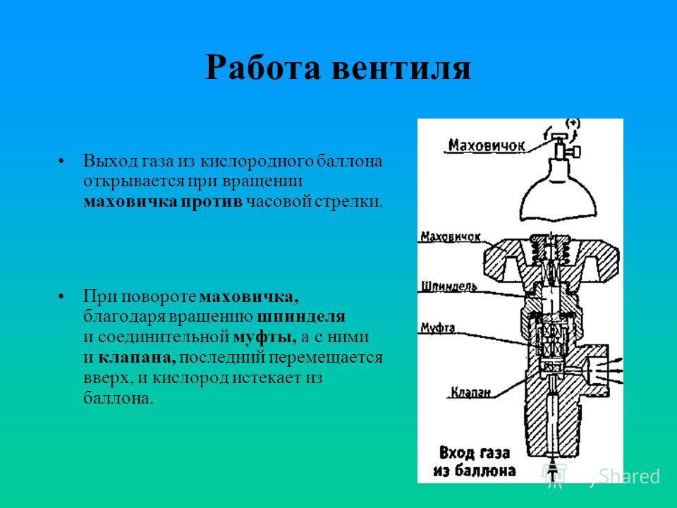 Работа вентиля Выход газа из кислородного баллона открывается при вращении маховичка против часовой стрелки. При повороте маховичка, благодаря вращению шпинделя и соединительной муфты, а с ними и клапана, последний перемещается вверх, и кислород исте