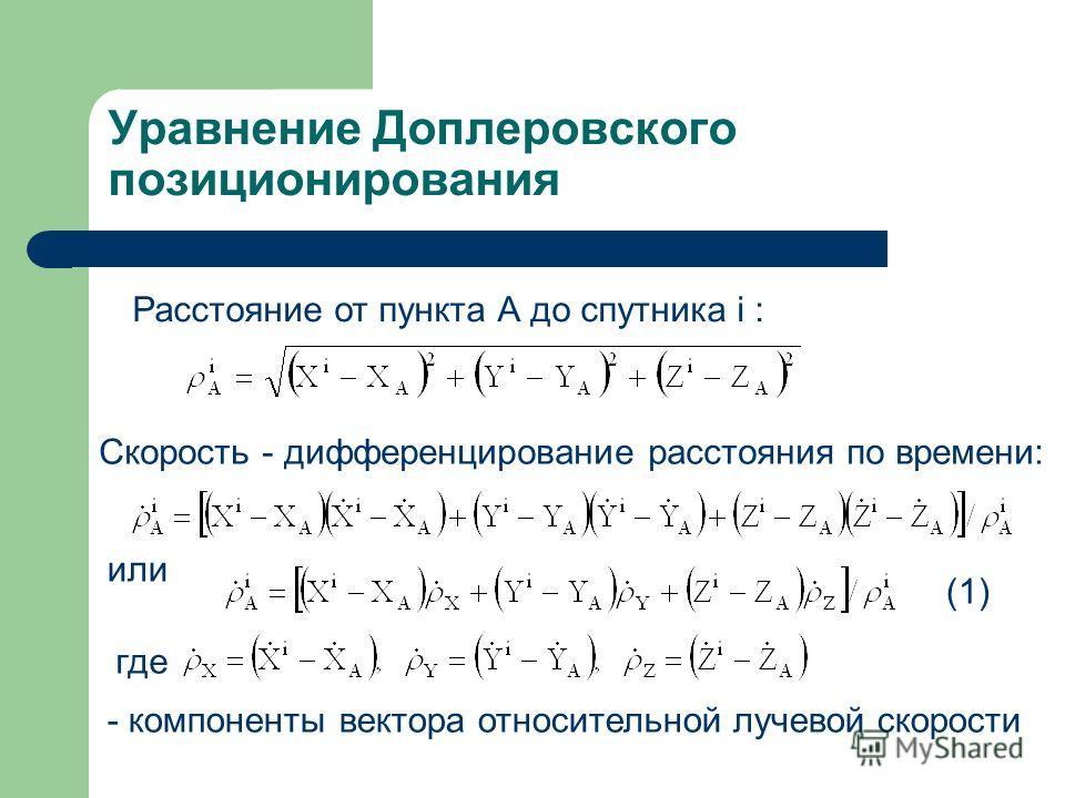 Уравнение Доплеровского позиционирования Расстояние от пункта А до спутника i : Скорость - дифференцирование расстояния по времени: где или - компоненты вектора относительной лучевой скорости (1)