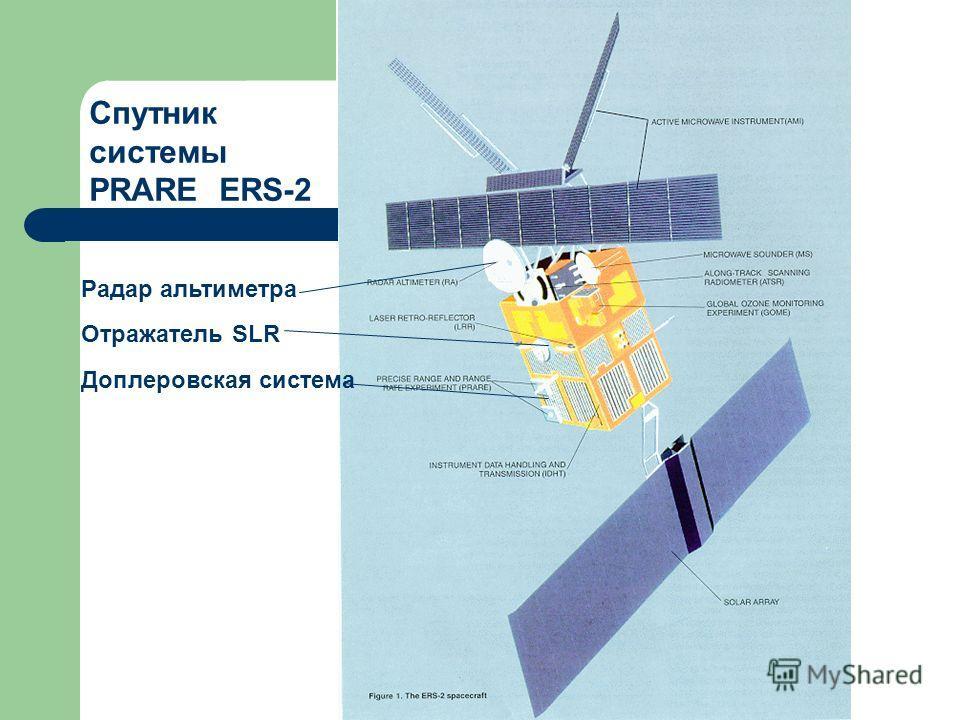 Радар альтиметра Отражатель SLR Доплеровская система Спутник системы PRARE ERS-2
