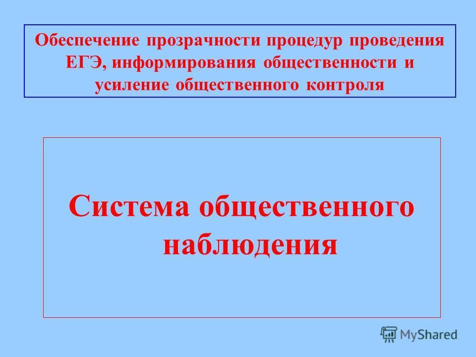 Обеспечение прозрачности процедур проведения ЕГЭ, информирования общественности и усиление общественного контроля Система общественного наблюдения